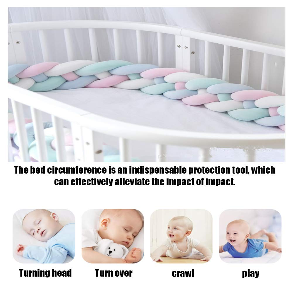 FZYQY Handmade Braided Cot Bumper Decorative Pillow for Baby Nursery Crib Bedding Baby Head Guard Bumper Knot Braid Pillow Cushion
