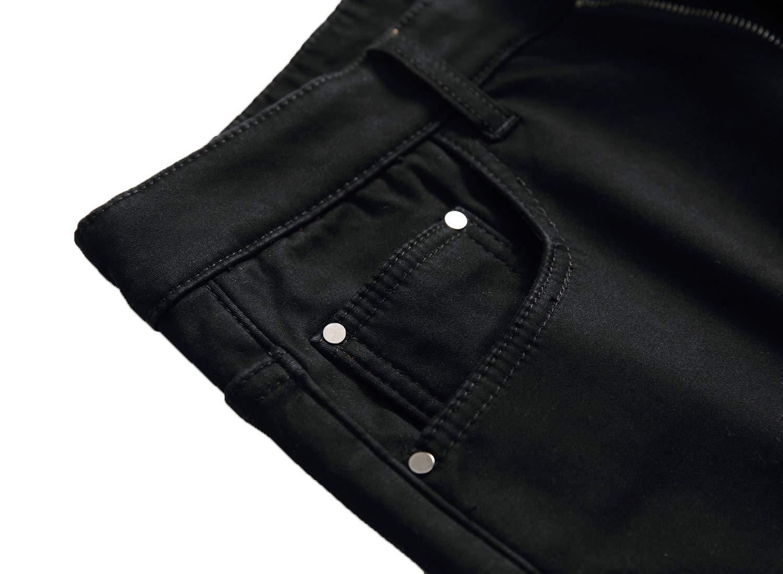 Men's Fleece Lined Stretch Skinny Jeans Winter Thicken Warm Denim Pants 4