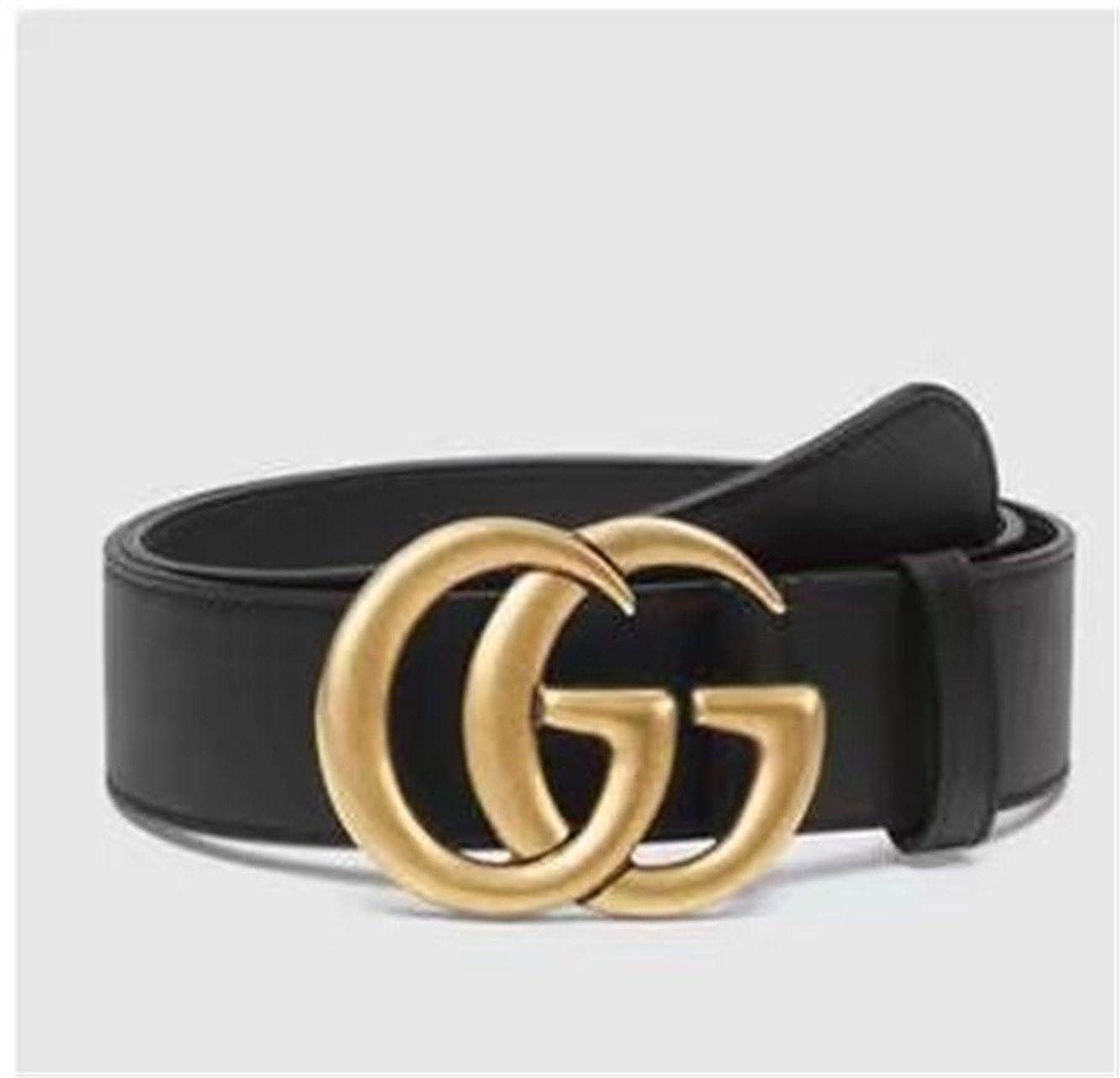 164ef639c4c2 Original authentique boutique de mode double GG or boucle hommes femmes  ceinture (W 1-34