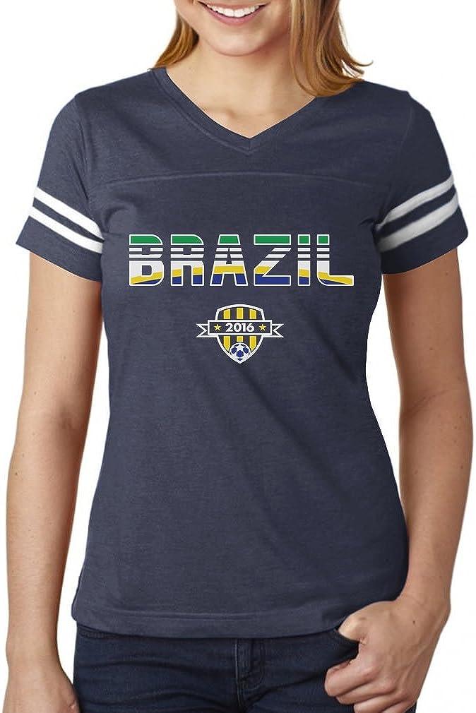 TeeStars - Brazil National Soccer Team 2016 Fans Women Football Jersey T-Shirt
