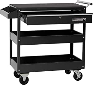 TANKSTORM Service Tool Cart with Drawer 3-Tire Rolling, Industrial Commercial Service Cart Black Professional (TQ312)