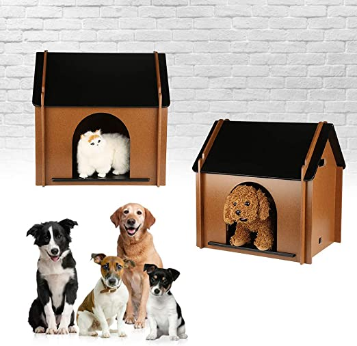 Caseta de Exterior para Perros, Casa de Madera Grande para Mascotas Gato Jardin Desmontable Decorativo Animal Cabaña 52x38x53cm: Amazon.es: Productos para mascotas
