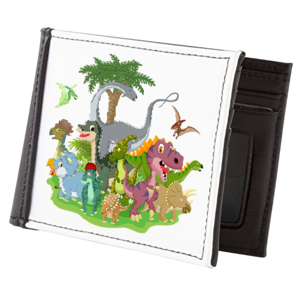 Truly Teague Mens Wallet Billfold Cute Group of Dinosaurs