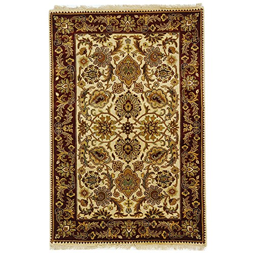 Safavieh Dynasty Collection DY254A Hand-Knotted Ivory and Red Premium Wool Area Rug (4' x 6')