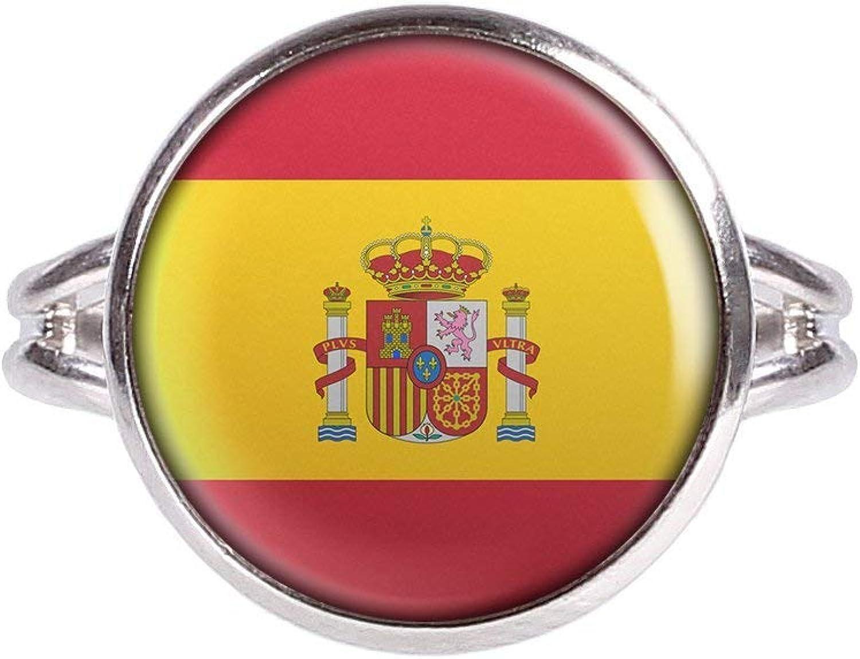 Mylery Anillo con Motivo Bandera de España Espana Plata 14mm: Amazon.es: Joyería