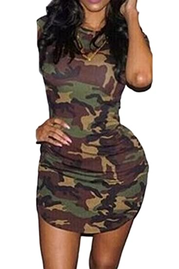 23a2c905 Zilcremo Women Summer Short Sleeve Camouflage Print Asymmetric Bodycon  Dress Camouflage XS