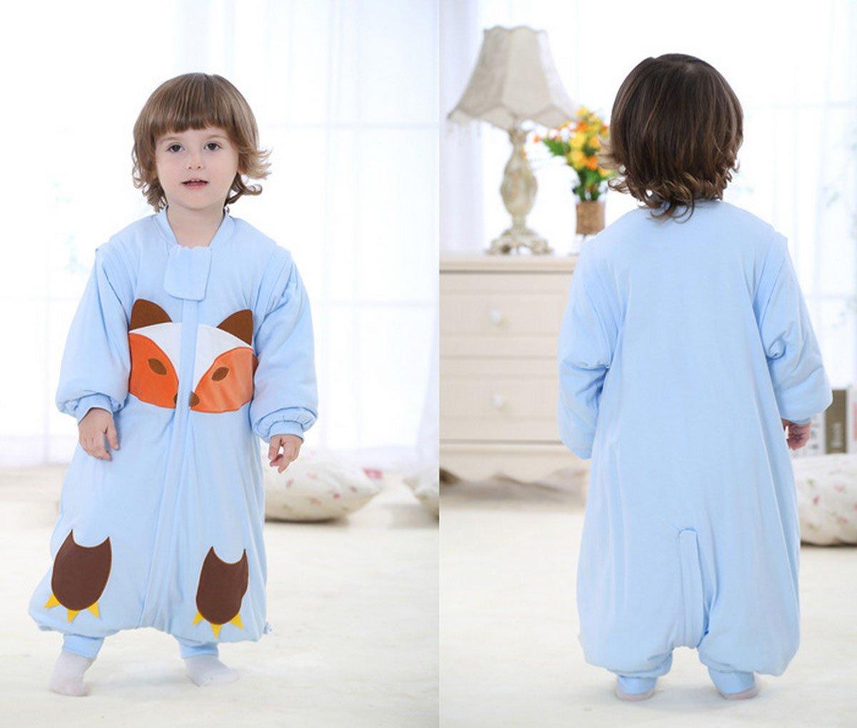 b5e1206acb67e Happy Cherry 2 en 1 Pyjama Grenouillères Combinaison Enfant Bébé Fille  Garçon - Sac de Couchage Imprimé en Coton Gigoteuse Épais avec Manches ...
