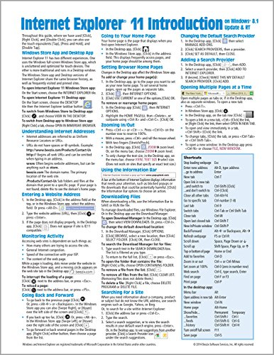 Internet Explorer 11 for Windows 8.1 Update Quick Reference Guide: Introduction (Cheat Sheet of Instructions, Tips & Shortcuts - Laminated Card)
