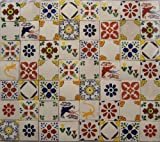 100 Hand Painted Talavera Mexican Tiles 4''x4''