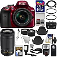 Nikon D3400 Digital SLR Camera & 18-55mm VR (Red) & 70-300mm DX AF-P Lenses with 64GB Card + Case + Flash + Video Light + Tripod + Tele/Wide Lens Kit