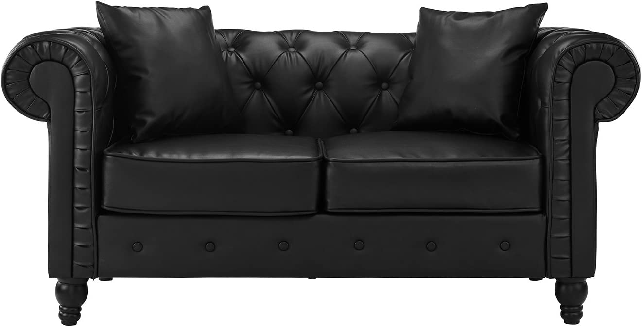 Classic Scroll Arm Tufted Bonded Leather Chesterfield Loveseat