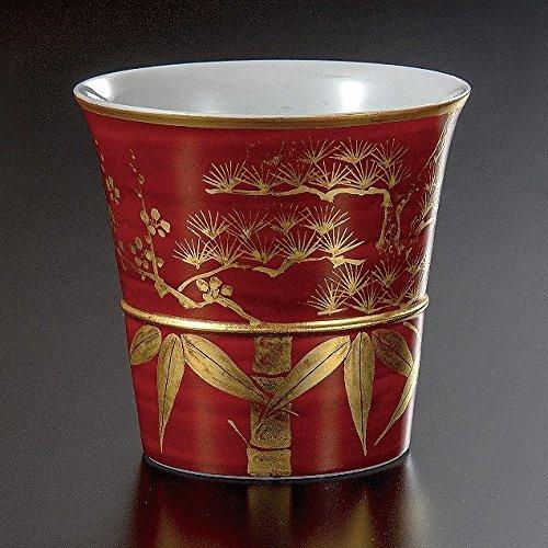 Jpanese traditional ceramic Kutani ware. Japanese Sake cups. Kinnrannde shochikubai. With wooden box. ktn-K5-2106