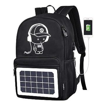 MGKMG Mochila con Energía Solar Cargador USB Antirrobo ...