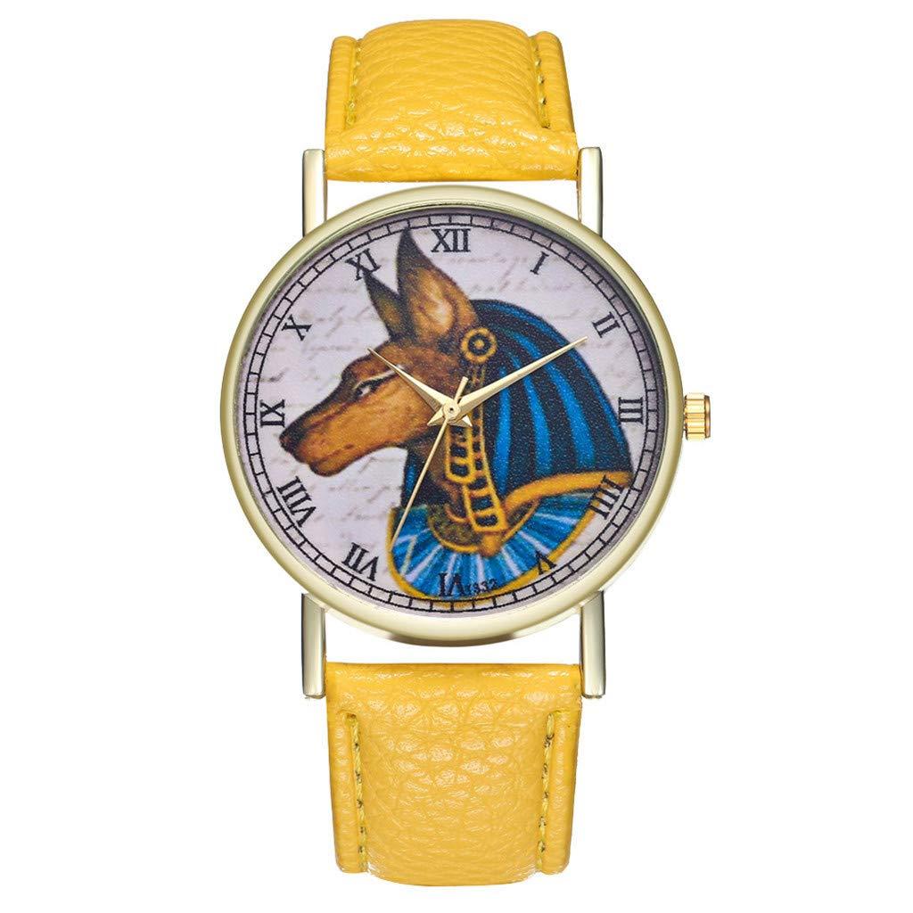 Mnyycxen Dog Print Quartz Watches Women Fashion Trends Watch Girl Students Simple Leisure Brown PU Leather Wrist Watch