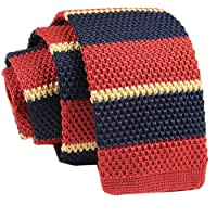 D.berite Navy Blue Striped Men Narrow Slim Skinny Knit Knitted Neck Tie Necktie