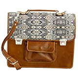 NOVICA Beige Leather and 100% Cotton Laptop Bag, 'Chestnut Kaleidoscope'