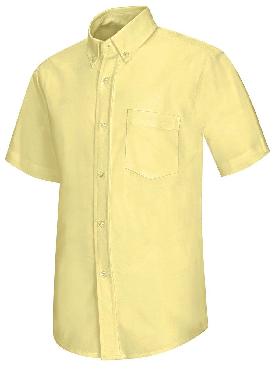 Classroom Men's Short Sleeve Oxford Shirt, Yellow, Small