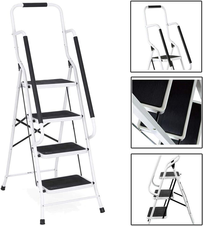 Escalera con peldaños Escalera con peldaños con Plataforma Plegable de 3 peldaños, diseño portátil de fácil Almacenamiento, Banda de Rodadura y pies Anchos sin Deslizamiento, para Cocina, ca: Amazon.es: Hogar