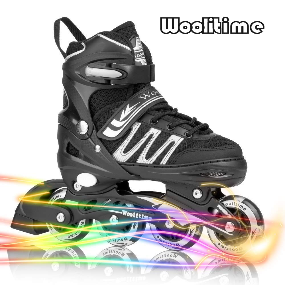 Woolitime Sports Adjustable Inline Skates for Kids with 8 Illuminating Wheels, Safe and Durable Roller Skates, Fashionable Skates for Girls and Boys, Men and Ladies by Woolitime (Image #1)