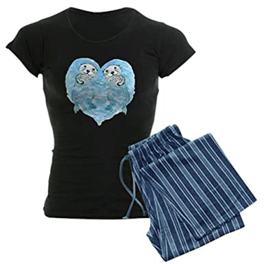 260f8899b025 CafePress - sea otters holding hands Women s Dark Pajamas - Womens Novelty  Cotton Pajama Set