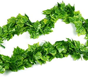 Shindel Vine Leaves, 90.5 Feet Artificial Fake Hanging Vine Plant Leaves Ivy Plant Garland Hanging Used for Garden Wall Decoration Parties Grapevine,12 Strip
