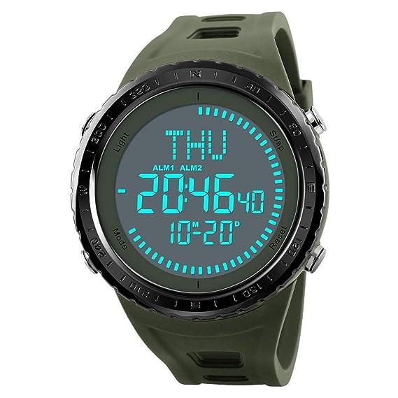Relojes Digitales de la brújula del Tiempo de los Hombres del Mundo Relojes Deportivos al Aire