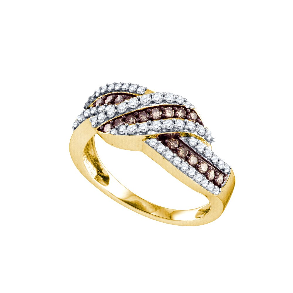 Solid 10k Yellow Gold Brown Diamond Crossover Ring Ribbon Band Fashion Style Chocolate Round Set 3/4 ctw