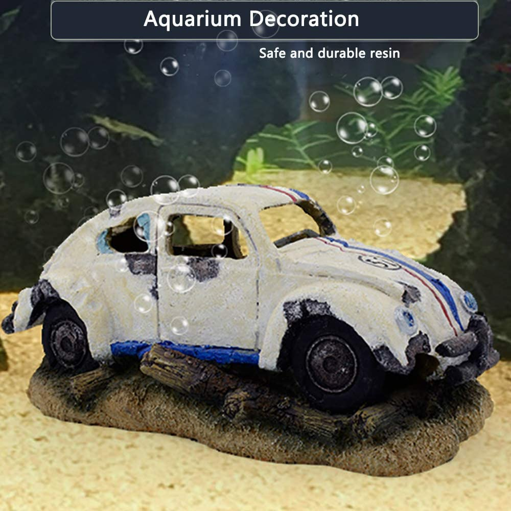 capetsma Aquarium Decorations, Imitation Wreck Car Resin Ornament for Air Stone Bubbler Oxygen Pump Providing dissolved Oxygen, Perfect Fish hideouts, Terrarium,Pond Fish Tank Decor