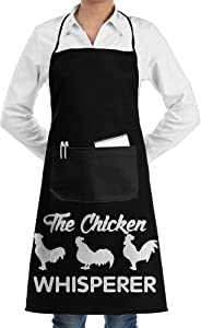 Leisue The Chicken Whisperer Apron Lace Unisex Mens Womens Chef Adjustable Polyester Long Full Black Cooking Kitchen Aprons Bib With Pockets For Restaurant Baking Crafting Gardening BBQ Grill
