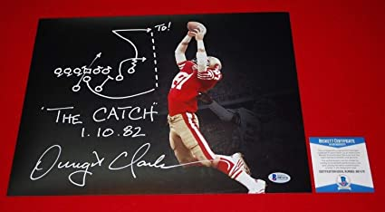 50232bd87 Dwight Clark San Francisco 49ers Autographed Signed Custom 11x14 Photo  Beckett With Play Coa 7