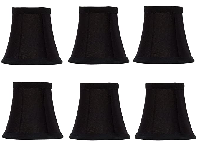 Upgradelights Set Of Six Black Silk With Gold Lining Bell Shade Chandelier Lamp Mini Clip