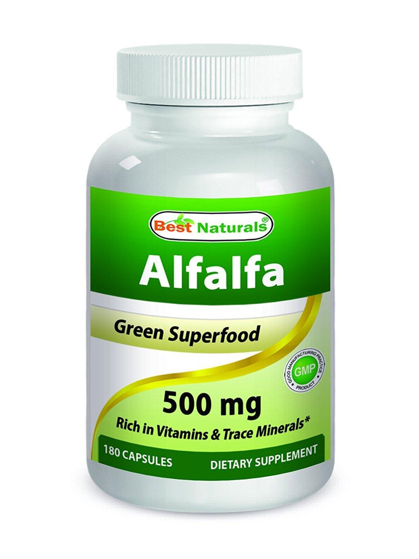 Best Naturals Alfalfa Green Super Food 500 mg 180 Capsules