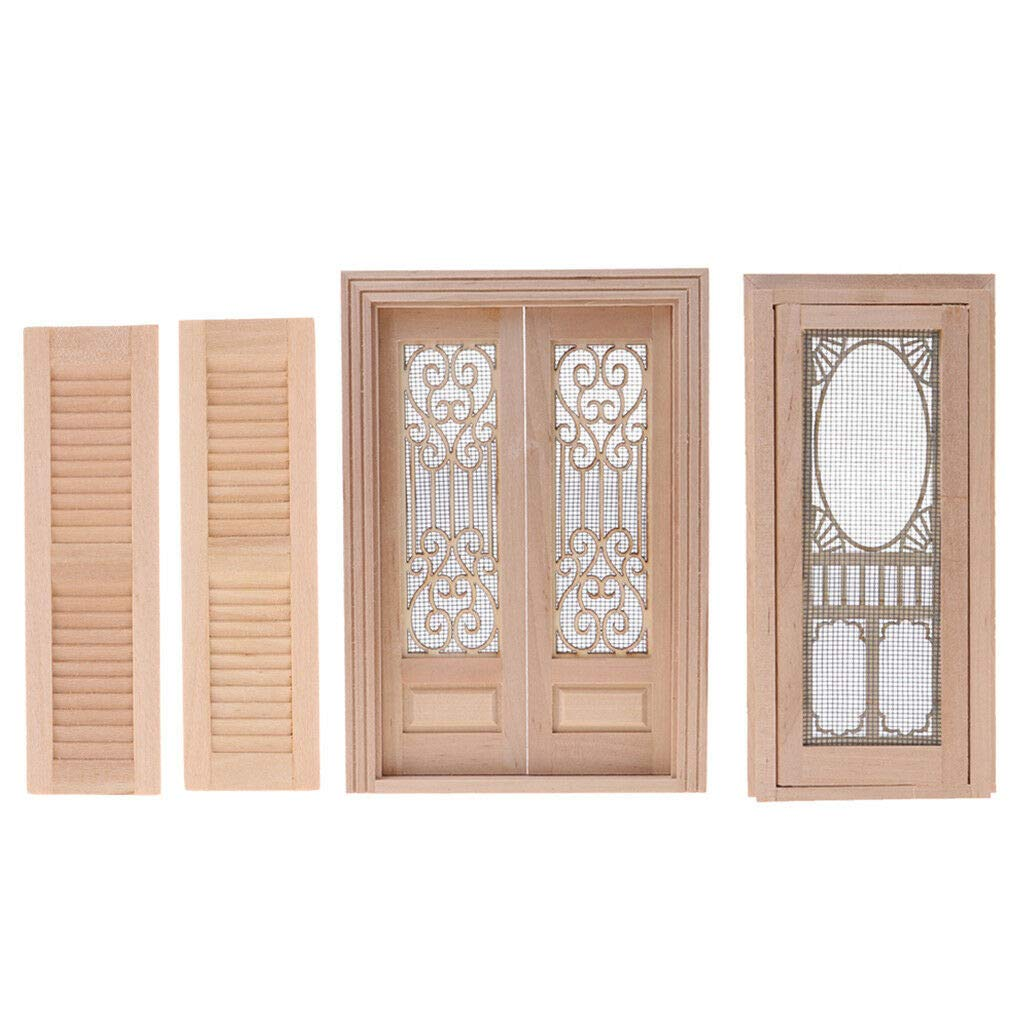 Dollhouse Miniature Wooden Door DIY Unpainted Accessory for 1:12 Scale