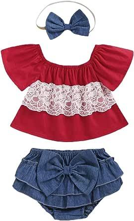 YALLET 3PCS Newborn Baby Girls Clothes Outfits Set,Ruffle Short Sleeve Tops Sunflower Short Pants+Bow-Knot Headband