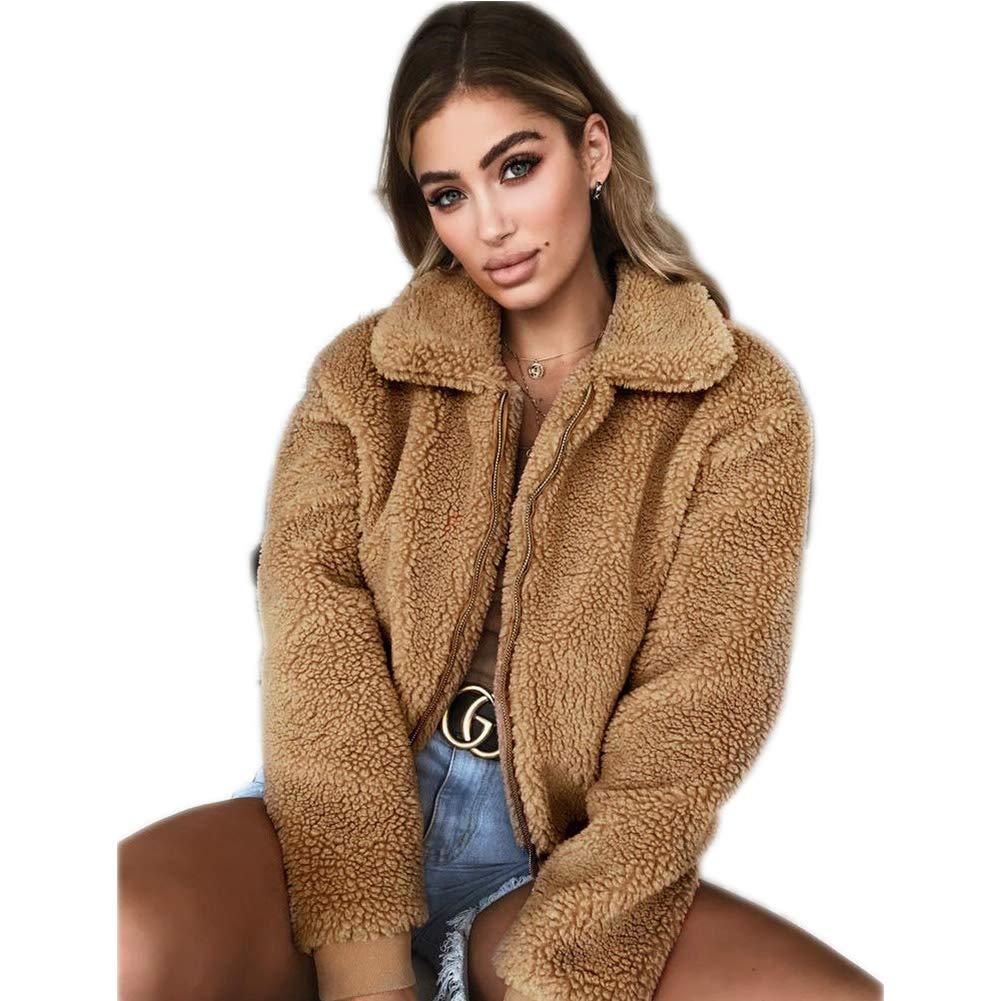 Women's Artificial Wool Hoodie Coat, S.Charma Solid Short Warm Outerwear Zipper Jacket Overcoat