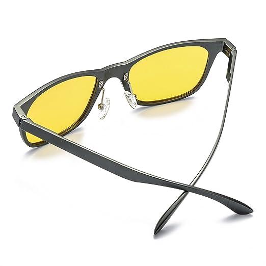 HD übergroßen Nachtsichtbrille für Herren Autofahren Gelben Sonnenbrille Retro Klassisch mit Metallrahmens Polarisiert Entspiegelten 100% UV400 Schutz (Shwarz) IXdY6S