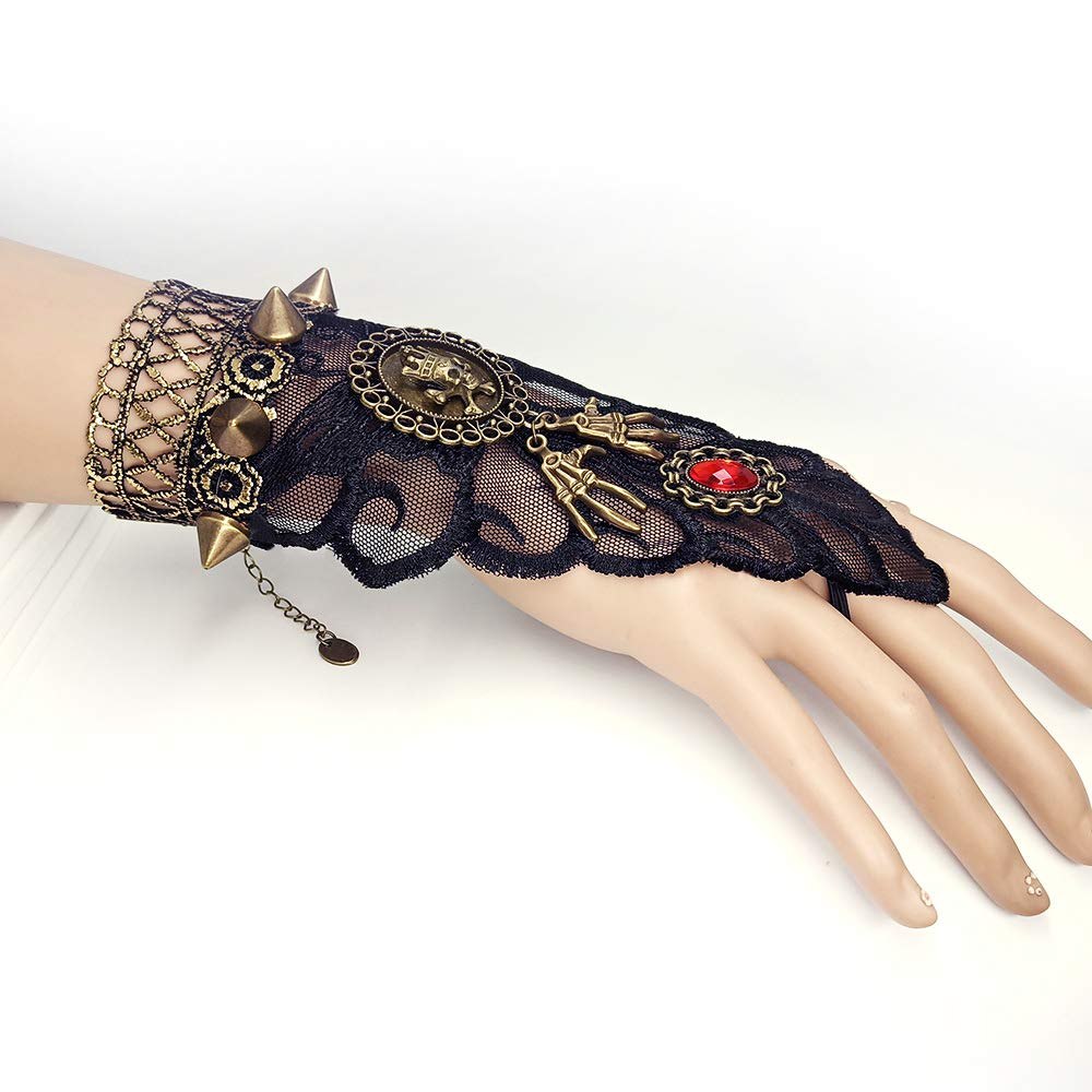 Spider Web with Skull Head Daimay Bronzing Fingerless Gloves Gothic Floral Lace Steampunk Wristband Ring Vintage Beaded Gloves Bridal Bracelet Ring Set 1 Pair