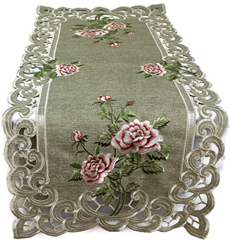 DoilyBoutique Table Runner with a Pink Rose and Sage Green B