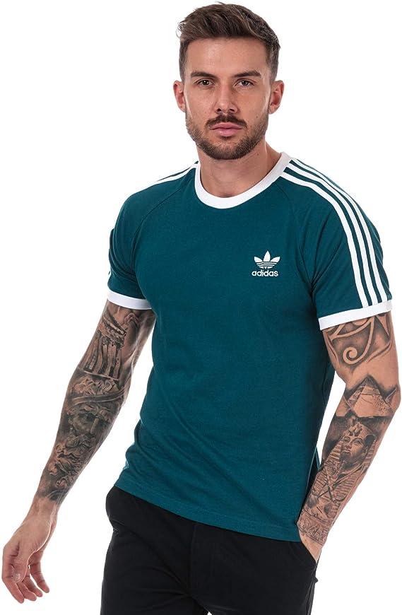 Adidas Originals - Camiseta de manga corta para hombre, diseño con 3 rayas, color verde Tech Mint, cuello redondo Verde verde XL: Amazon.es: Ropa y accesorios