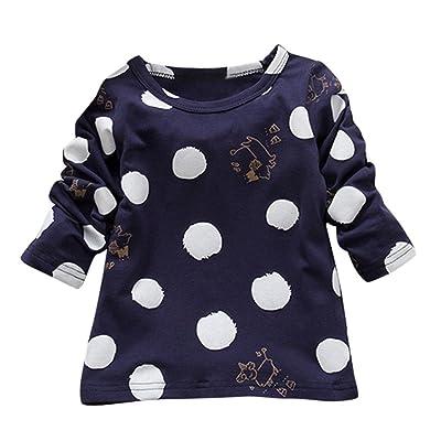 Lanpan Warm Baby Girls Boys Long Sleeve Dot Soft Toddler Kids Tops T-Shirt