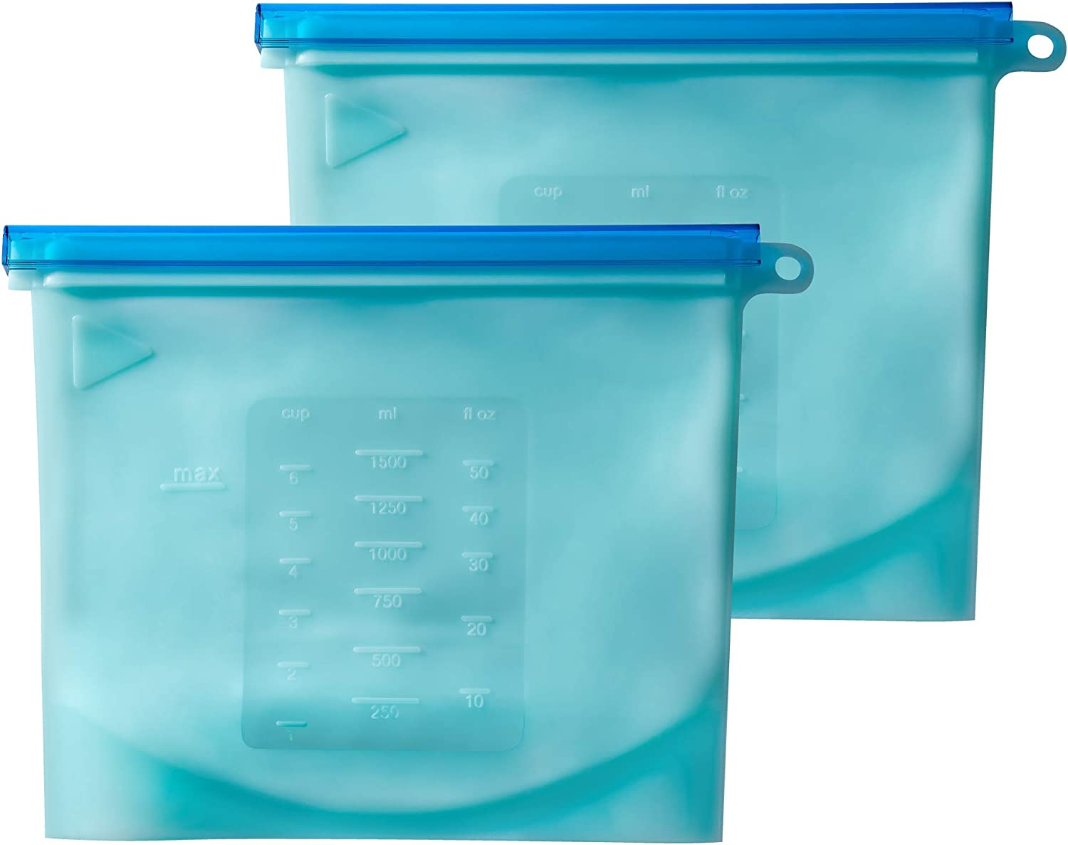 PrimeMed Airtight Food Storage Bags – Reusable Silicone Freezer Bag for Food Preservation (Blue, 1500 mL) (2 Pack)