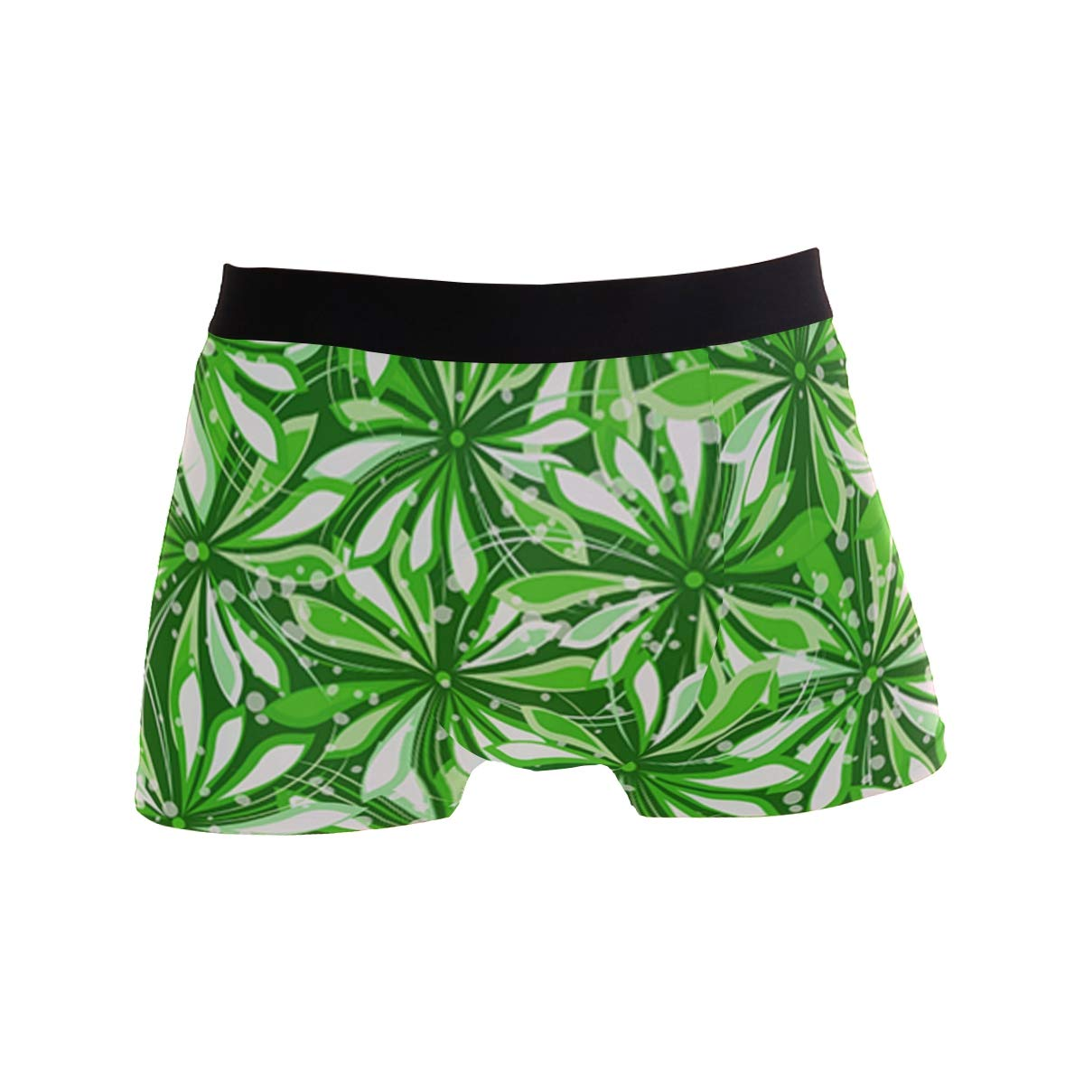 Romantic Green Floral Mens Sport Boxer Brief Breathable Underwear