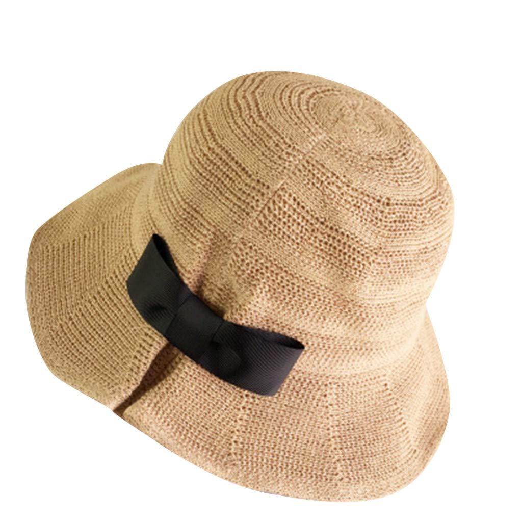 Summer Beach Sun Hats,Quaanti Clearance Sale Womens Foldable Wide Brim Bucket Straw Sun Hat Ladies Summer Travel Bow Beach Caps
