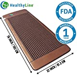 HealthyLine Far Infrared Heating Mat - For Pain Relief, Stress & Insomnia 76'' x 32'' | Natural Tourmaline Stone |​​​​​ Negative Ions (XL & Firm) | FDA Registered