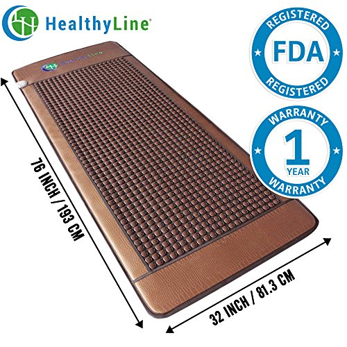 HealthyLine Far Infrared Heating Mat - For Pain Relief, Stress & Insomnia 76'' x 32'' | Natural Tourmaline Stone | Negative Ions (XL & Firm) | FDA Registered by HealthyLine