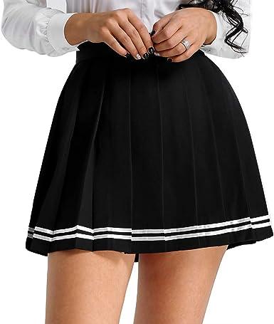 inhzoy Falda Plisada Japones para Mujer Chica Disfraz de Colegiala ...