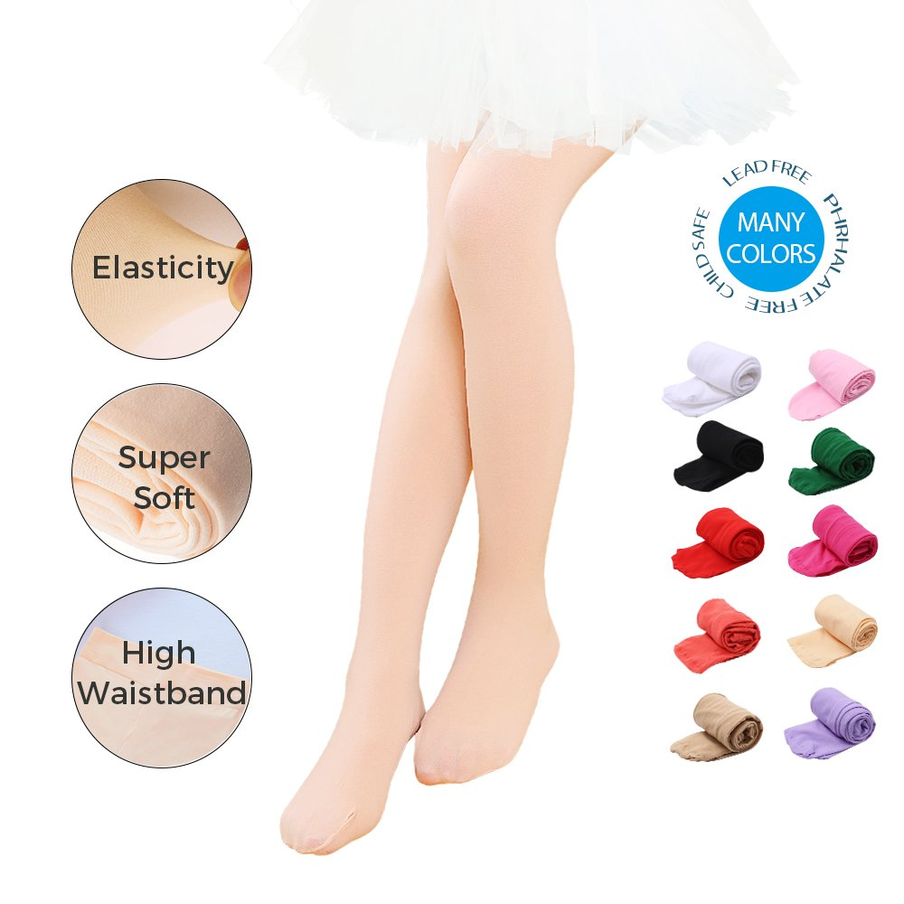 Toddler//Little Kid//Big Kid Ballet Dance Tights Ultra Soft Transition Girls Student Footed Tight