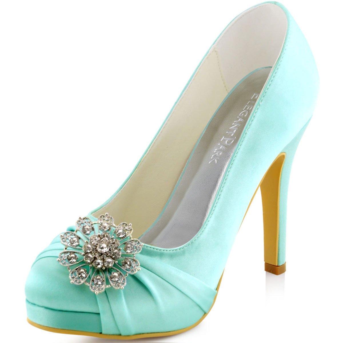 Elegantpark EP2015-PF Mujeres Bombas Punta Cerrada Zapatos Plataforma Zapatos Tacón Alto Rhinestones Satén Wedding Party Zapatos Novia 38 EU|Menta