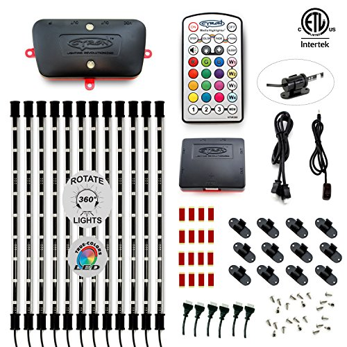 Cyron Bright RGB LED Under Counter Cabinet Multicolor Light TV Accent Lighting Kit, Advanced Series Controller, 360 Degrees Rotatable, ETL Listed, 12 x 15 Inch LED Bars