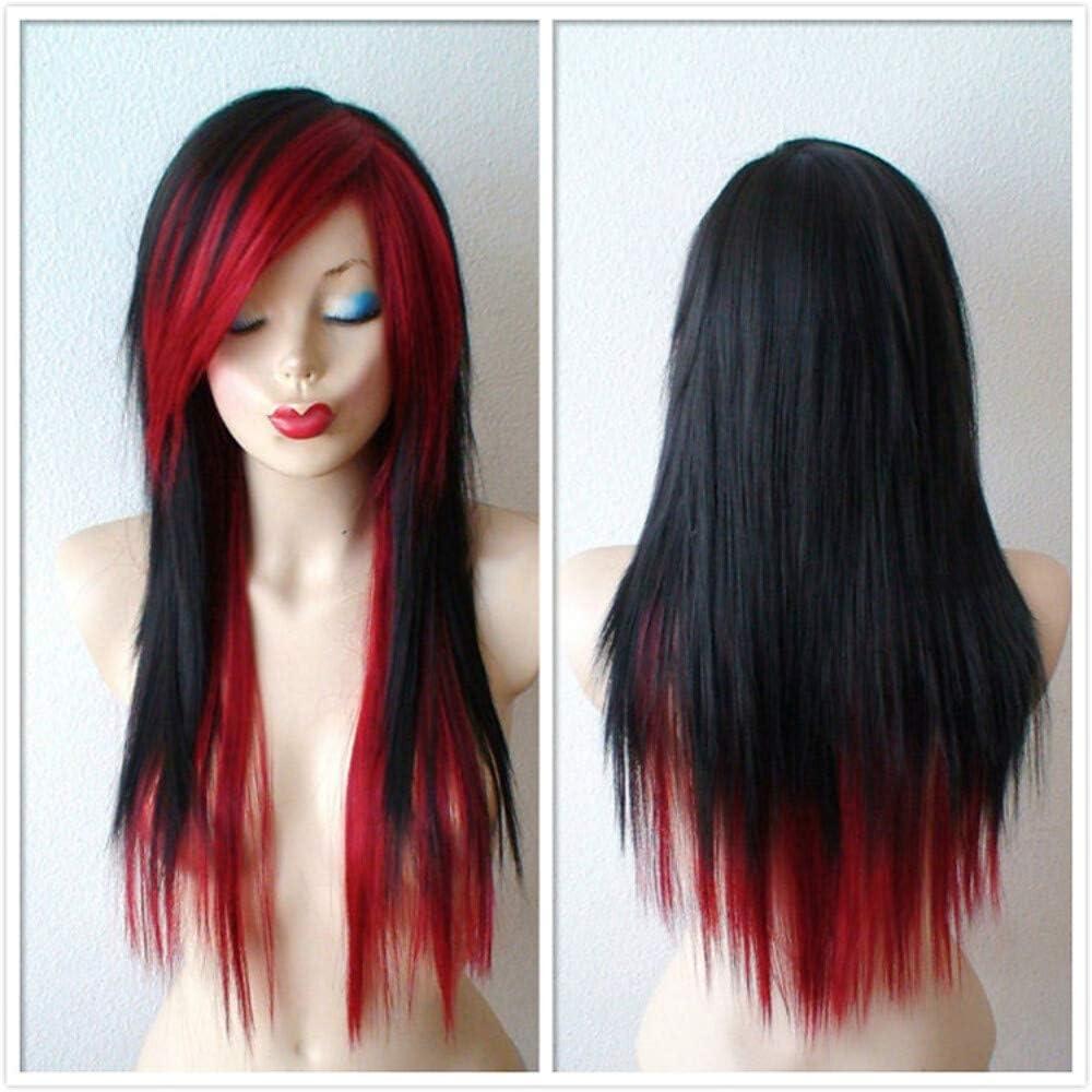 ZGL-peluca sintéticas Recto Rojo Corte a capas/Con flequillo ...